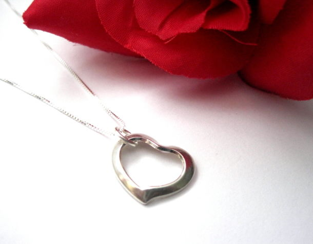 Sterling Silver Floating Heart Sweetheart Necklace - product images  of