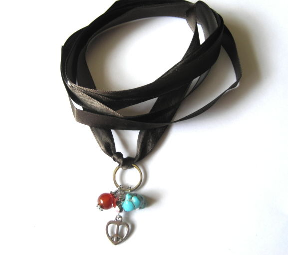 Peace Love Silk Ribbon Gemstone Multi Wrap Bracelet Choker - product images  of