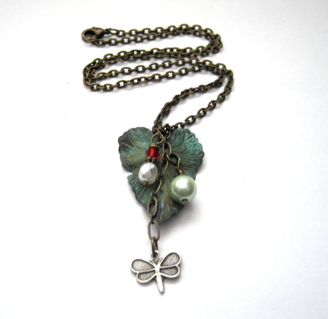 Antique Gold Verdigris Leaf Butterfly Charm Necklace - product images  of