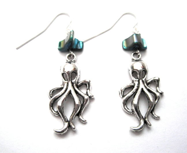 Sea Life Nautical Octopus Abalone Shell Dangle Earrings - product images  of