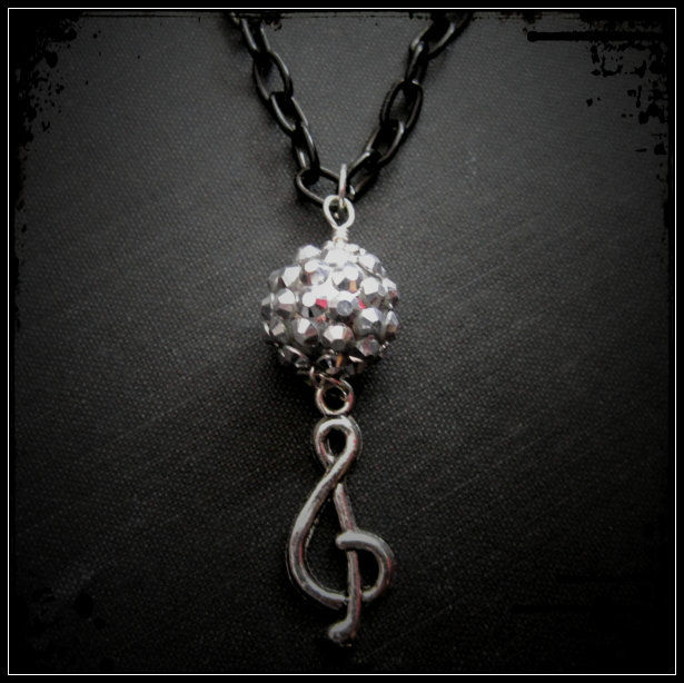 Treble Clef G Clef Glitter Ball Necklace, Music Note Necklace - product images  of