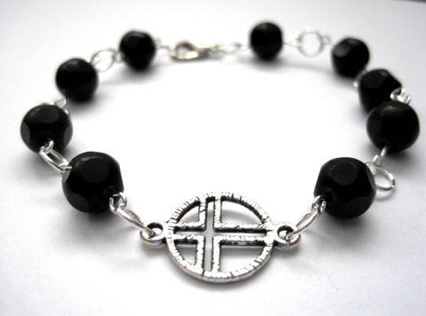 Black,Mourning,Cross,Bracelet,Black Mourning Cross Bracelet, Victorian Mourning bracelet, black, cross, gothic victorian, handmade jewelry