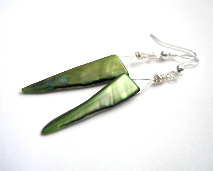 Green Mother of Pearl Shell Tribal Dangle Earrings - product images  of