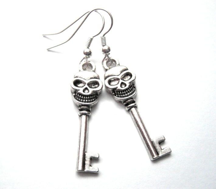 Gothic Skull Skeleton Key Dangle Earrings - product images  of