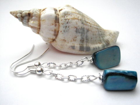 Blue,Turquoise,Mother,of,Pearl,Chain,Dangle,Earrings,Blue Mother of Pearl Earrings, Blue Turquoise, Mother of Pearl, Chain, Dangle Earrings, beach jewelry, nautical jewelry, mother of pearl jewelry