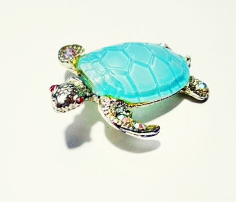 Cute,Novelty,Blue,Vintage,1960s,Turtle,Brooch,Pin,with,Jeweled,Feet.,Vintage brooch, vintage pin, vintage turtle, 1960s jewelry, tortoise pin, vintage jewellery, costume,  blue, rhinestones, novelty pin, figural, retro