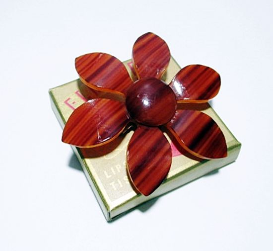 Vintage 1960s Mod Era Brown Lucite Plastic Flower Brooch Pin Statement Piece - product images  of