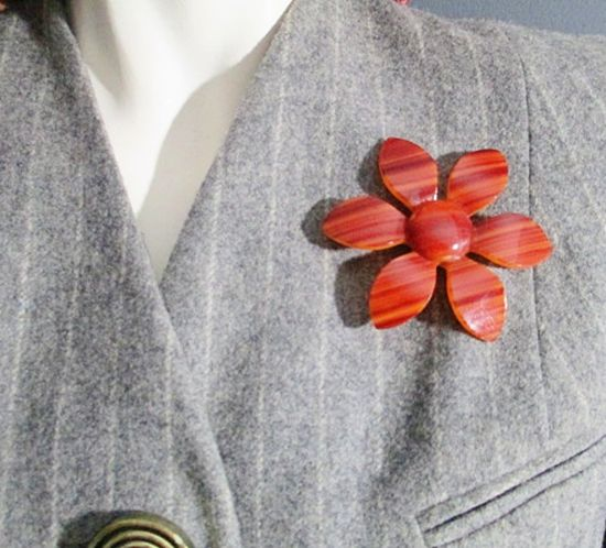 Vintage 1960s Brown Lucite Plastic Flower Brooch Pin Statement Piece - product images  of