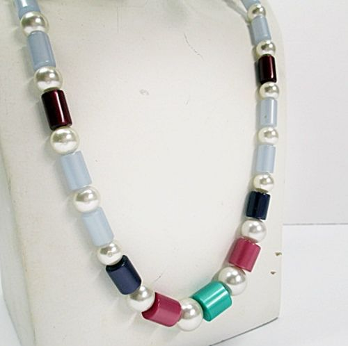 Colorful 1960s Vintage Moonglow Lucite and Faux Pearls Long Necklace  - product images  of