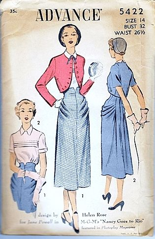 Vintage 1950s Sewing Pattern Designed by Helen Rose for Nancy Goes To Rio Sm - product images  of