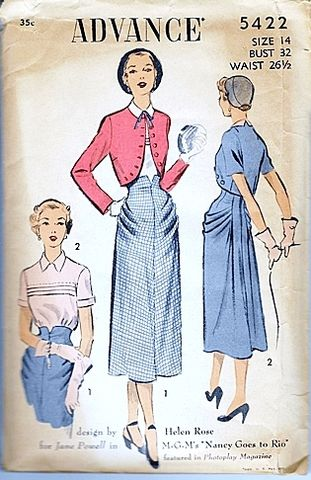 Vintage,1950s,Sewing,Pattern,Designed,by,Helen,Rose,for,Nancy,Goes,To,Rio,Sm,Vintage Pattern, Sewing Pattern, Costume Designer, Helen Rose, 1950s, Nancy Goes To Rio, Hollywood designer, Movie costume , For Sale, Sewing, Jane Powell, Small