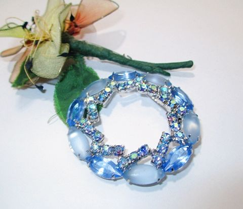 1960s,Vintage,Aqua,Blue,Rhinestone,Round,Brooch,with,Clear,and,Opaque,Stones,Vintage Brooch,Vintage Pin, Costume Jewelry, Blue Brooch, Round Brooch, 1950s, 1960s,Rhinestones, Glass Stones. Periwinkle, Wreath Shape, Another Time Vintage Apparel