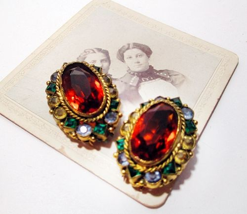 Beautiful Vintage 1940s Fur Clips Topaz with Multi Colored Stones Pair - product images  of