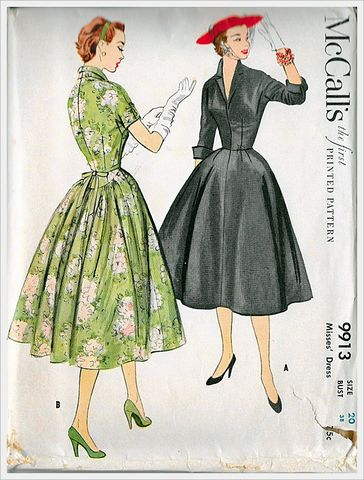 1950s,Vintage,Full,Skirted,and,Nipped,In,Waist,Dress,Sewing,Pattern,McCalls,Size,B38,Med,9913,Vintage pattern, vintage,sewing pattern,retro,Lucy style,vintage dress,full skirt,rockabilly,pin up,anothertimevintageapparel,for sale,fifties