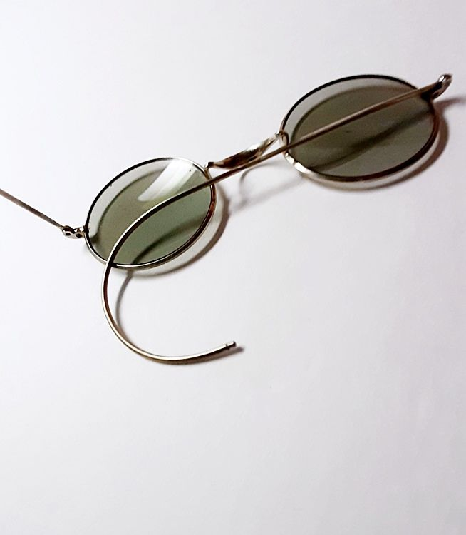 Genuine 1930s Vintage Round Wire Rim Deco Sunglasses Unisex Style  - product images  of