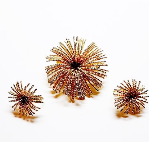 1960s,Bergere,Vintage,Gold,Tone,Fire,Works,Brooch,and,Earrings,Set,Vintage 1960s brooch set,vintage earrings and pin set,bergere, vintage jewley,fire works design brooch,sixties,another time vintage apparel,for sale,designer jewelry,star burst design, clip earrings