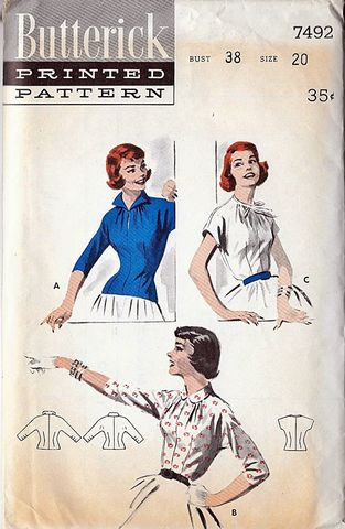 Fabulous,1950s,Vintage,Fitted,Blouse,Pattern,by,Butterick,7492,Rockabilly,Size,Med,to,Large,1950s vintage blouse pattern,vinatge 1950s clothing,butterick pattern,rockabilly style, DIY, sewing,vintage sewing patterns, another time vintage apparel,for sale,old size 20,med to large size vintage pattern,pin up style,fitted blouse