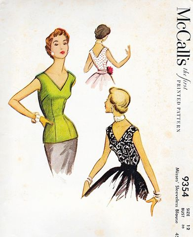 Fantastic,Designed,1950s,Vintage,Blouse,Pattern,for,A,V,Neck,Sleeveless,Top,Size,XS,1950s vintage blouse pattern,vintage pattern,sleeveless top from the 50, McCalls #9354, pattern,vintage sewing patterns,rockabilly style, pin up style, another time vintage apparel, for sale, DIY,sewing,fitted V neck blouse