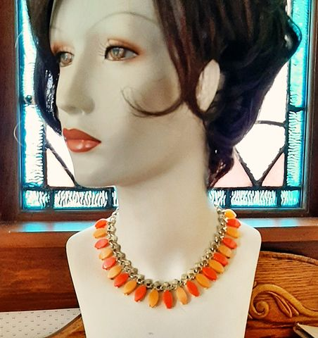 Orange,and,Tangerine,Lucite,Vintage,1960s,Choker,Necklace,Moonglow,Drops,1960s vintage orange necklace, costume necklace, moonglow lucite necklace, 1960s vintage lucite,tangerine,plastic, thermoset jewelry, another time vintage apparel, vintage jewelry,mod,disco,sixtiesfor sale