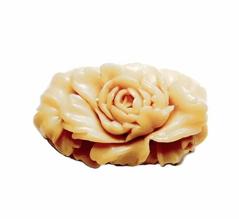 1930s,Vintage,Molded,&,Carved,Floral,Celluloid,Brooch,Japan,vintage brooch, 1930s brooch, 1930s jewelry, celluloid, carved, vintage pin, plastic, flower, yellow, japan, another time vintage apparel