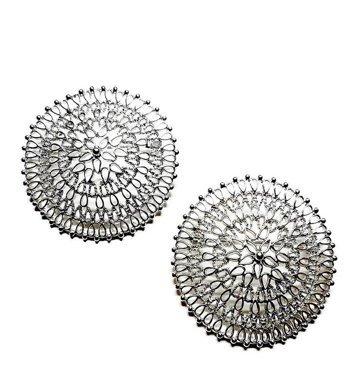 1960 70s Vintage Silver Filigree Lrg Round Pr of Brooches Sarah Coventry Venetian  - product images  of