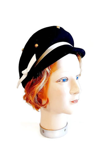 1960s,Vintage,Black,Mod,Bubble,Hat,with,a,Brim,and,Studs,Space,Age,Style,Vintage 1960s Mod hat, space age style ,black 60s hat with brim, vintage 1960s hat cap with brim, studded hat, pierre cardn style hat, another time vintage apparel, swinging sixties fashions, for sale, vintage hats, mod hats ,black vintage hat