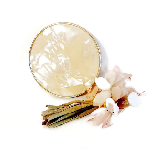 1960s,Vintage,Large,Creamy,Plastic,Faux,Mother,Of,Pearl,Double,Sided,Purse,Mirror,Compact,vintage mirror for purse, 1960s double mirror compact, vintage purse accessory, mirror compact 1960s, 1960s accessories, anothertimevintageapparel, handbag mirror, vintage makeup mirror, lipstick mirror, sixties, lucite like plastic