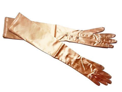 Beautiful,Unworn,Vintage,Rose,Gold,Satin,Opera,Length,Long,Gloves,Rhinestone,Buttons,Vintage evening gloves, rose gold gloves, vintage opera gloves,1960s 70s, satin gloves, another time vintage apparel, jeweled buttons, wedding, black tie gloves, old hollywood style, for sale