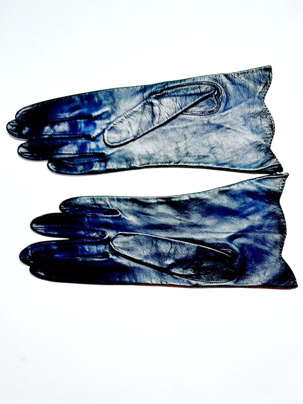 Vintage 1940s Soft Navy Leather Unworn Gloves with Deco Design Cuffs Wrist Length 7 1/4 - product images  of