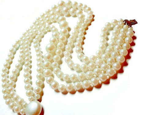 Lovely,Vintage,1950s,4,Strand,Faux,Creamy,Pearl,Necklace,Bib,Style,vintage  1950s 4 strand pearl necklace, choker pearl necklace, 1950s pearls, wedding, bridal pearls, costume pearl necklace, another time vintage apparel, creamy pearl necklace, statement pearl necklace,, big pearl necklace, for sale, costume jewelry