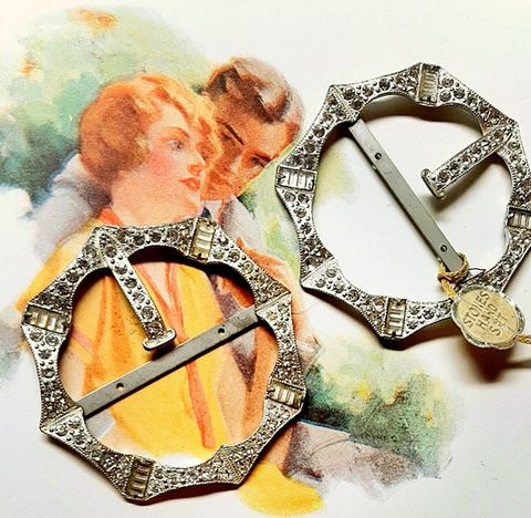 A,Pair,of,Antique,Diamante,Jeweled,Belt,Shoes,Buckles,with,Tag,1920,30s,pair antique buckles, 1920 30s vintage belt buckles, pair of jeweled buckles, nos buckles, vintage rhinestone large buckles, another time vintage apparel, unused findings, diamante buckles, twenties, for hat, for shoes, for gowns, antique sewing