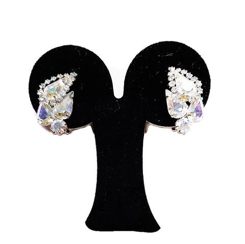 Beautiful,1950s,Vintage,Gleaming,Aurora,Borealis,Rhinestone,Weis,Clip,Earrings,vintage weis earrings, vintage 1950s rhinestone earrings, aurora borealis vintage earrings, fifties, vintage earrings, designer vintage jewelry, clip earrings, another time vintage apparel, 1950s fashion, evening earrings, black tie