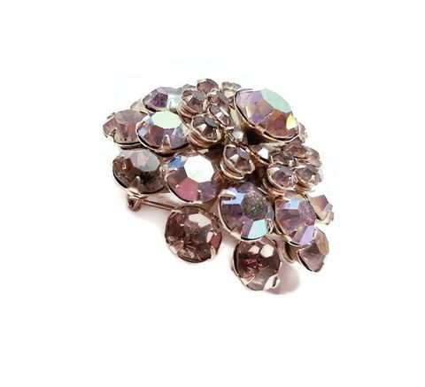 Large,Domed,Round,Multi,Color,Aurora,Borealis,Vintage,1960s,Rhinestone,Brooch,Pin,Vintage Aurora Borealis brooch,1950s AB brooch,1960s vintage pin, vintage round rhinestone brooch, vintage jewelry,1960s jewelry,gold topaz rhinestone pin,for sale,another time vintage apparel jewlery
