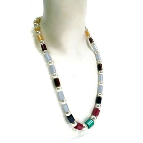 Colorful,1960s,Vintage,Moonglow,Lucite,and,Faux,Pearls,Long,Necklace,Vintage Necklace, Vintage Moonglow Lucite, 1960s, 60s Jewelry, Pearls, Sixties, 1960s fashions, Lucite, Vintage Costume Jewelry, Jewelry For Sale, anothertimevintageapparel