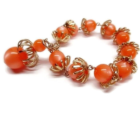 1960s,Vintage,Orange,Moonglow,Mod,Beaded,Lucite,Bracelet,with,a,Dangle,Bead,Vintage Bracelet, Vintage Jewelry, 1960s, Retro Jewelry, Vintage Costume Jewelry, Orange, Moonglow, Lucite Jewelry, Plastic Vintage Jewelry, Tangerine, anothertimevintageapparel , Sixties Fashions