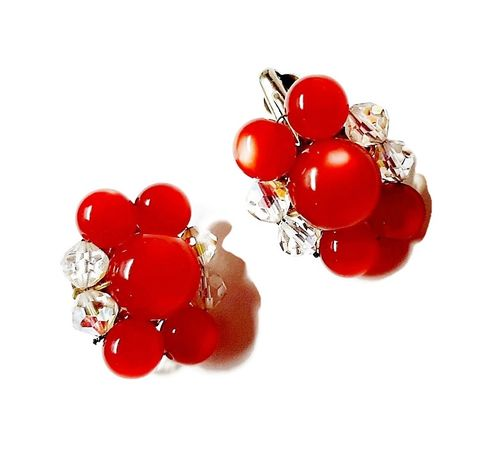 1950s,60,Vintage,Red,Moonglow,Lucite,Beaded,Clip,Back,Earrings,Accented,with,Clear,1950s red lucite vintage earrings,1960s cherry red bead vintage earrings,moonglow lucite,lucite earrings, thermoset earrings,clips,another time vintage apparel, red beaded vintage earrings