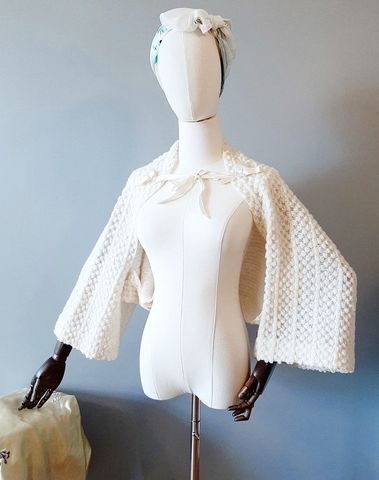 1940s,Vintage,Cream,Knit,Shoulder,Shrug,Bed,Jacket,with,Ribbon,Ties,1940s vintage shrug, vintage bed jacket, forties, boudoir fashions, shoulderette, cream knit, nightwear, anothertimevintageapparel, kimono sleeves ,sweater shrug jacket, sweater for bedroom, for sale, vintage lingerie
