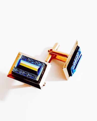 1960s,Vintage,Deep,Blue,Glass,Rectangle,Cuff,Links,with,an,Intricate,Design,vintage cuff links, vintage cufflinks, blue glass cuff links, mad men, turq blue, sixties, 1960s fashion, mens vintage cuff links, retro, anothertimevintageapparel, vintage mens accessories, vintage accessories for sale, true vintage