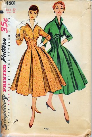 1950s,Vintage,Simplicity,Pattern,For,A,Fitted,Full,Skirted,Dress,Kimono,Sleeves,Bust,38,#4801,1950s vintage pattern, 1950s vintage sewing pattern. 1950s dress pattern, larger size pattern,sewing, DIY dress, rockabilly, Lucy style, fifties, fitted and full dress, simplicity, anothertimevintageapparel, for sale, vintage store, true vintage