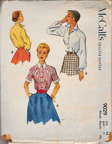 Early,1950s,Vintage,Pattern,for,Three,Styles,of,Fitted,Blouses,McCalls,Sm,Bust,32,1950s vintage blouse pattern, vintage sewing pattern, 1950s fashion, mccalls pattern, shirts blouses, DIY, home sewing, lucy era, rockabilly, true vintage ,anothertimevintageapparel, patterns for sale