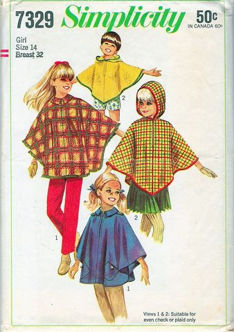 1960s,Vintage,Pattern,for,A,Cape,or,Poncho,in,Two,Styles,Large,Girl,Petites,Bust,32,Waist,26,1960s vintage poncho pattern, vintage sewing pattern, 1960s cape pattern, petites, child, vintage 60s fashion, poncho pattern, DIY, sewing, make it yourself, true vintage, anothertimevintageapparel, patterns for sale