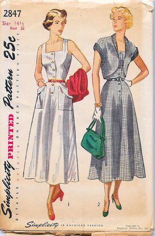 Early,1950s,Vintage,Dress,Pattern,for,a,Sun,and,Jacket,Simplicity,#2847,Bust,33,Small,1950s dress apttern, vintage 50s dress pattern, dress and jacket pattern, lucy style, vintage sewing pattern, 1950s vintage patter for sale, small, simplicity 2847, bust 33, small. rockabilly, sundress, fifties,anothertimevintageapparel, DIY