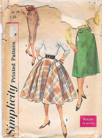 Vintage,1950s,Skirt,Pattern,For,Three,Styles,Circle,Pencil,and,Flared,XS,Waist,24,vintage 1950s skirt pattern, vintage pattern for circle skirt, 1950s skirts to sew, vintage pencil skirt pattern,1950s sewing pattern, true vintage, anothertimevintageapparel, vintage 50s patterns for sale, retro, rockabilly, pin up, lucy look, DIY, sewin