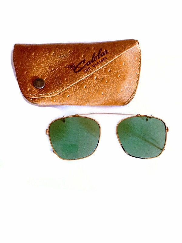 Vintage 1940s 50s Dark Green Clip On Sunglasses with the Case Non Prescription  - product images  of