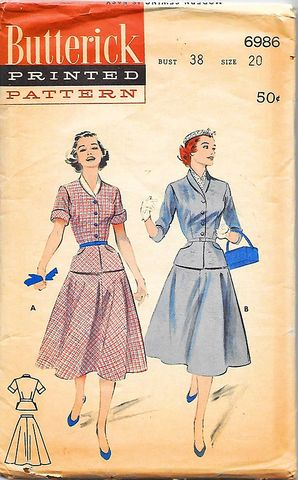 1950s,Vintage,Butterick,Pattern,for,a,Skirt,Suit,or,2,PC,Dress,Old,Size,20,B,38,#6986,vintage 1950s suit pattern, vintage pattern to sew, butterick suit pattern, fifties, lucy style, tailored skirt suit, DIY, sewing, vintage pattern for a suit, 2 pc dress pattern, larger size, bust 38, #6986, anothertimevintageapparel