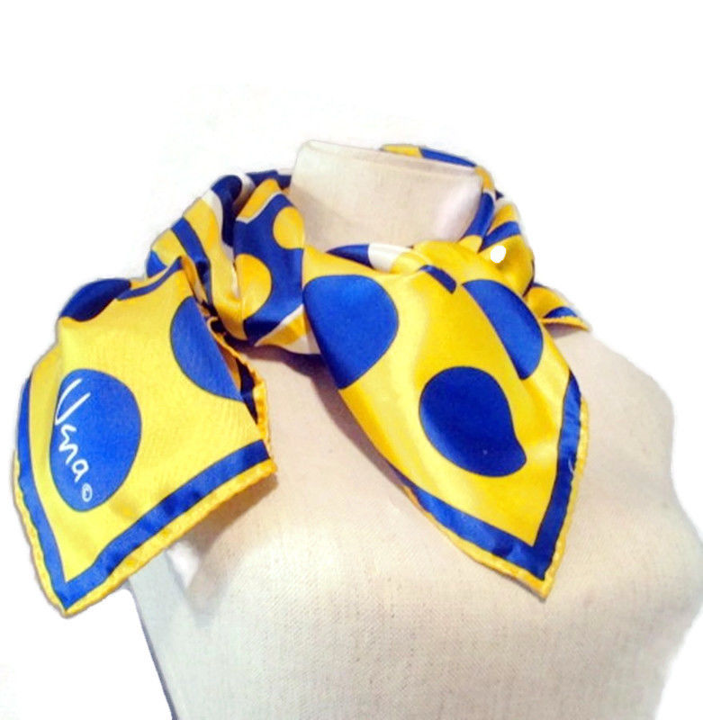 Vintage 1960s Vera Lady Bug Designer Scarf in Bright Yellow and Blue Dots Geometric Print - product images  of