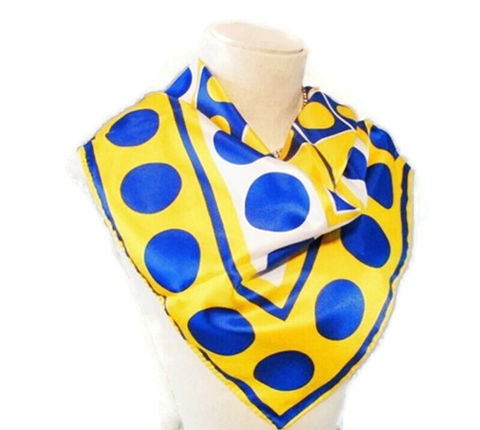 Vintage,1960s,Vera,Lady,Bug,Designer,Scarf,in,Bright,Yellow,and,Blue,Dots,Geometric,Print,Vintage Scarf, Vintage Vera, Vera Scarf, 1960s, 1960s fashion, scarves , polka dots, vintage accessories, designer scarf , for sale, anothertimevintageapparel