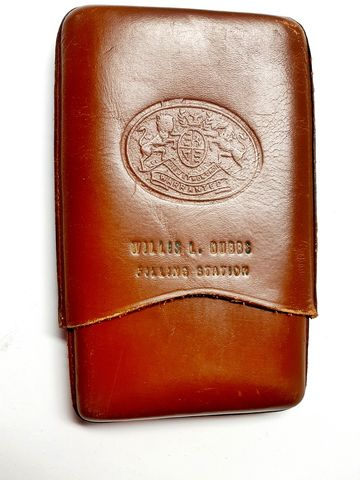 1940s,50,Vintage,Brown,Leather,Cigar,Case,with,Auto,Advertising,Tooled,Design,Vintage leather cigar case, 1940s cigar case, 1950s leather cigar case, leather, brown, automobilia, smoking collectible, advertising, filling station, gas station, souvenir, mens, anothertimevintageapparel, car advertisng, vintage cars