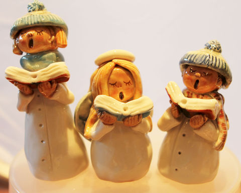Carol,singing,group,Carol singers, porcelain, hand crafted, hand painted