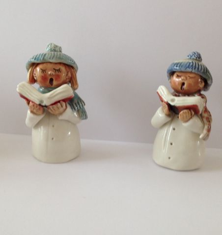 Small,carol,singers,with,blue,hats,and,scarves,Hand crafted porcelain figures